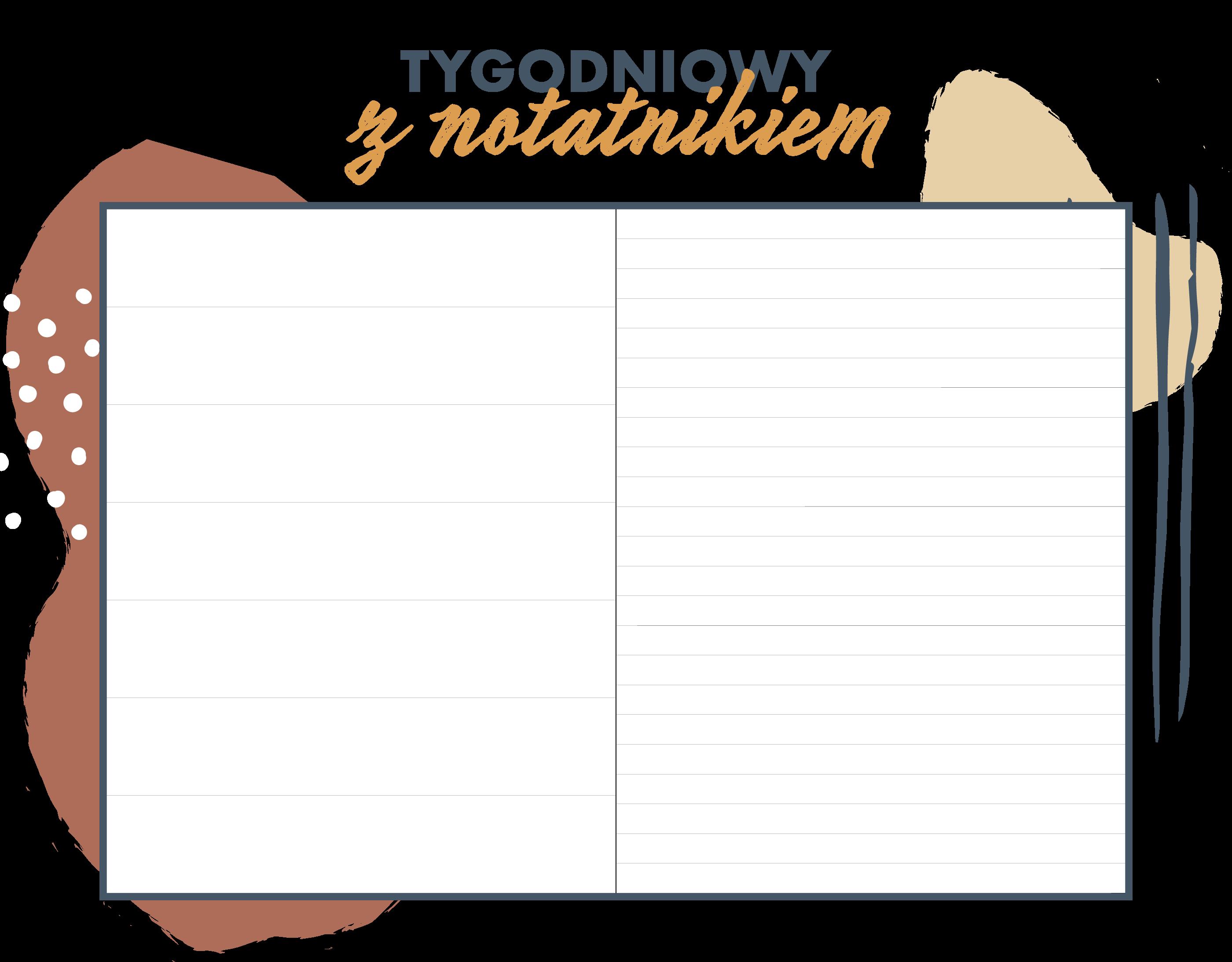 Układ tygodniowy z notatnikiem